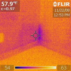 Infrared Thermal Analysis: Leak Behind Drywall